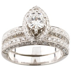 1.71 Carat Round Diamond with Marquise Halo 18 Karat White Gold Ring Set