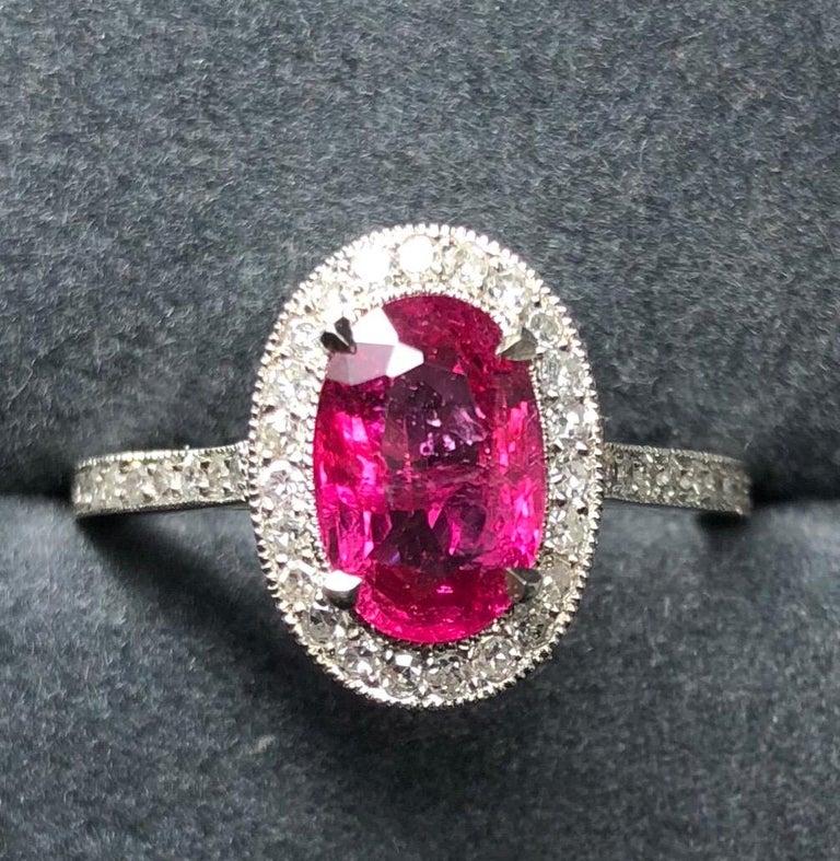 1.71 Carat Ruby and Diamond Cluster Platinum Ring 4