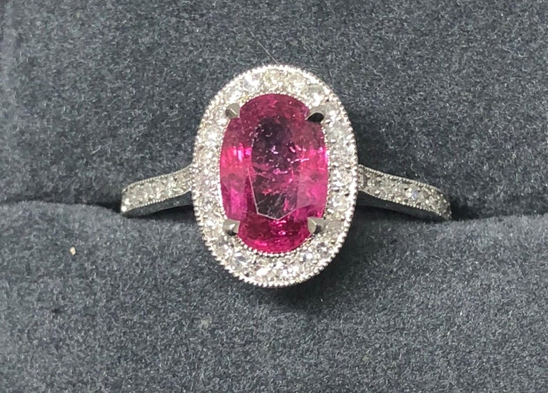 1.71 Carat Ruby and Diamond Cluster Platinum Ring 5