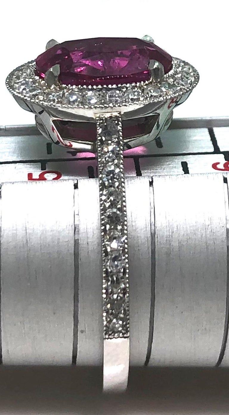 1.71 Carat Ruby and Diamond Cluster Platinum Ring 7