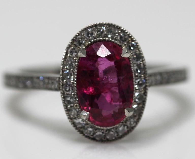 1.71 Carat Ruby and Diamond Cluster Platinum Ring 8