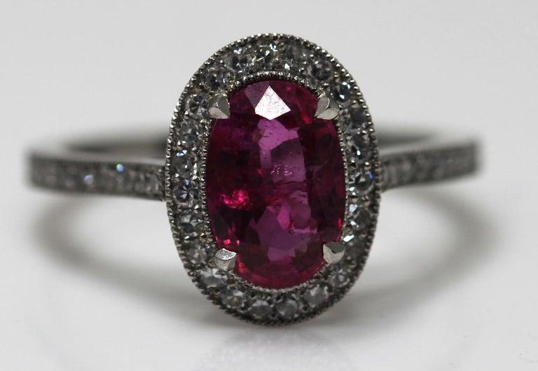 1.71 Carat Ruby and Diamond Cluster Platinum Ring 9