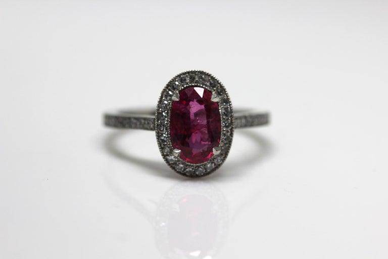1.71 Carat Ruby and Diamond Cluster Platinum Ring 10