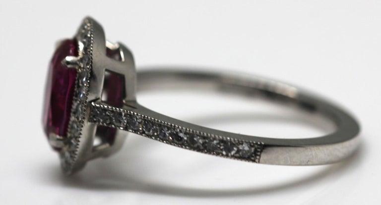 1.71 Carat Ruby and Diamond Cluster Platinum Ring 11