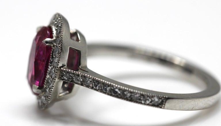 1.71 Carat Ruby and Diamond Cluster Platinum Ring 12