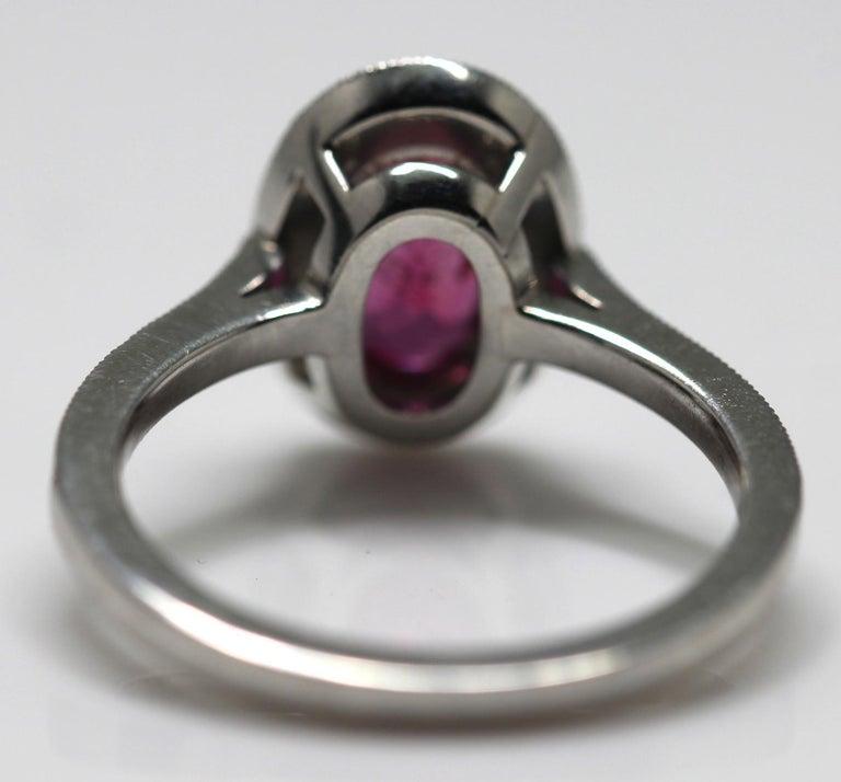 1.71 Carat Ruby and Diamond Cluster Platinum Ring 13