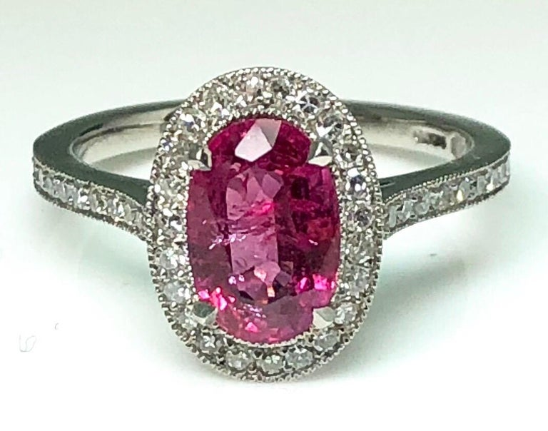 1.71 Carat Ruby and Diamond Cluster Platinum Ring In New Condition In London, GB