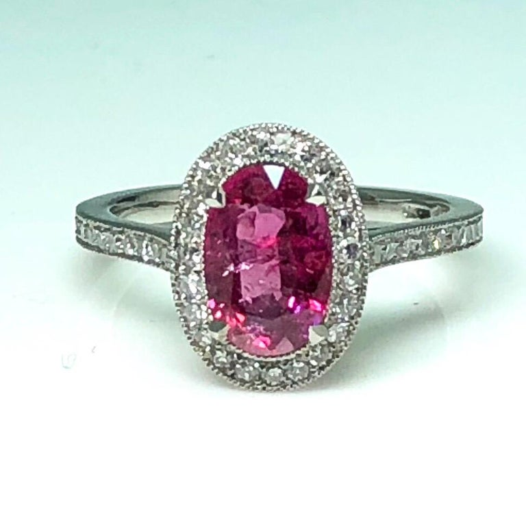 Women's 1.71 Carat Ruby and Diamond Cluster Platinum Ring