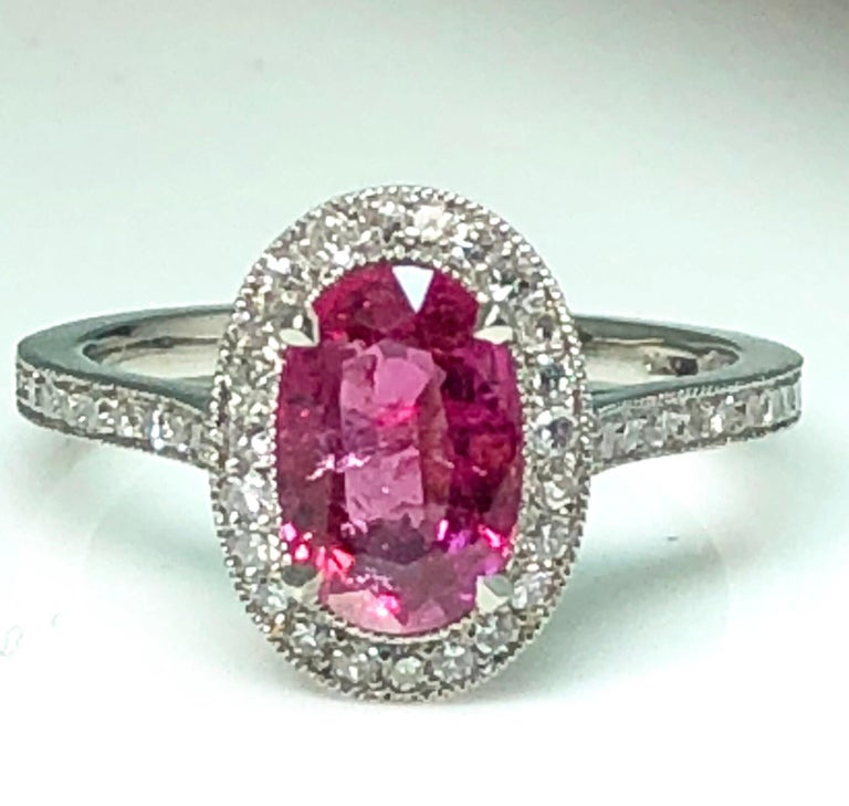 1.71 Carat Ruby and Diamond Cluster Platinum Ring 1