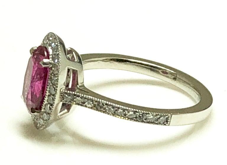 1.71 Carat Ruby and Diamond Cluster Platinum Ring 2