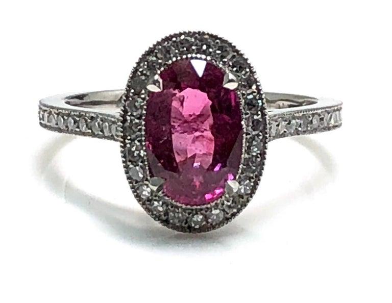 1.71 Carat Ruby and Diamond Cluster Platinum Ring 3