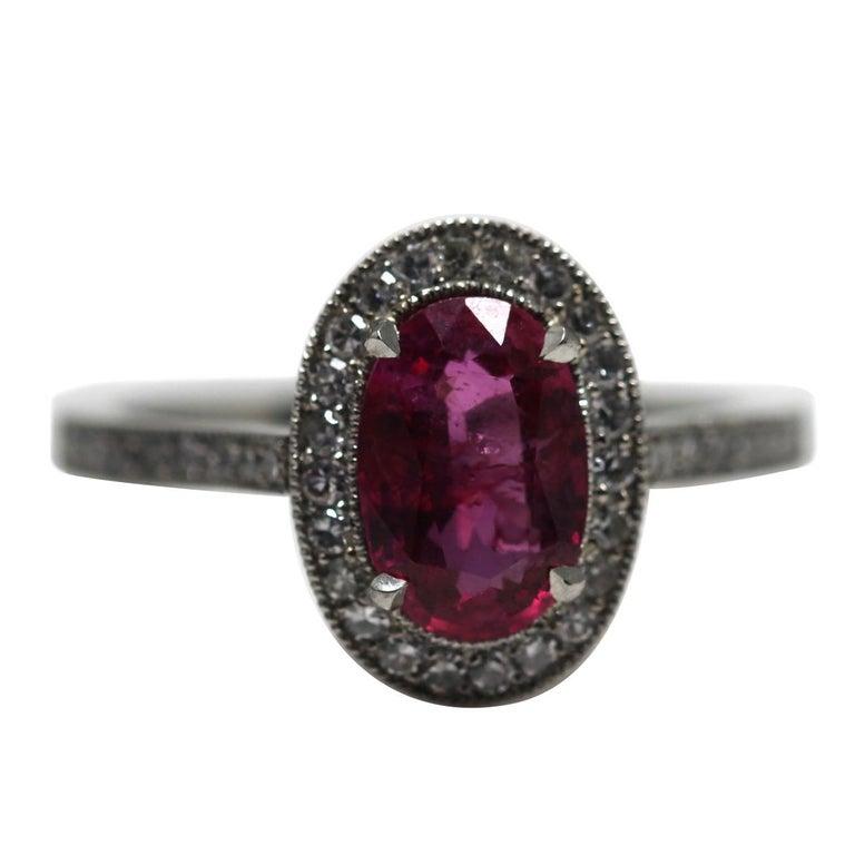 1.71 Carat Ruby and Diamond Cluster Platinum Ring
