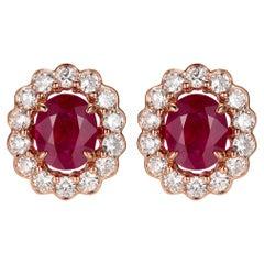 1.71 Carat Ruby Diamond Stud Earring in 18 Karat Rose Gold