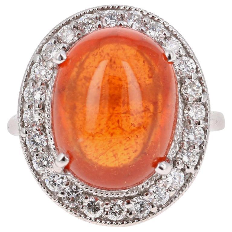 17.11 Carat Mandarin Garnet Diamond White Gold Cocktail Ring