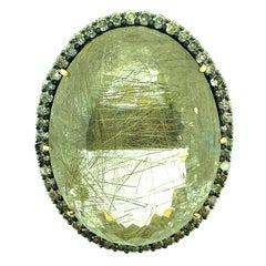 171.20 Carat Rutilated Quartz, 2.80 Carat Diamond Ring Sterling Silver, 14K Gold