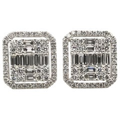 1.72 Carat Baguette and Round Diamond Earrings with Round Halos