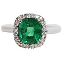 1.72 Carat Cushion Green Emerald Set in 18 Karat White Gold