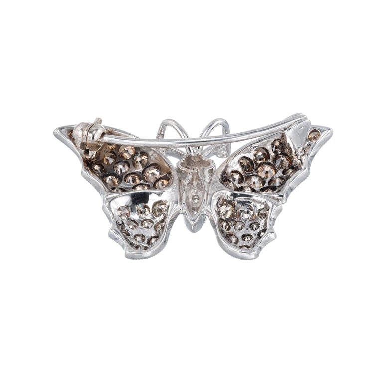 Round Cut 1.72 Carat Diamond White Gold Butterfly Brooch Pendant For Sale