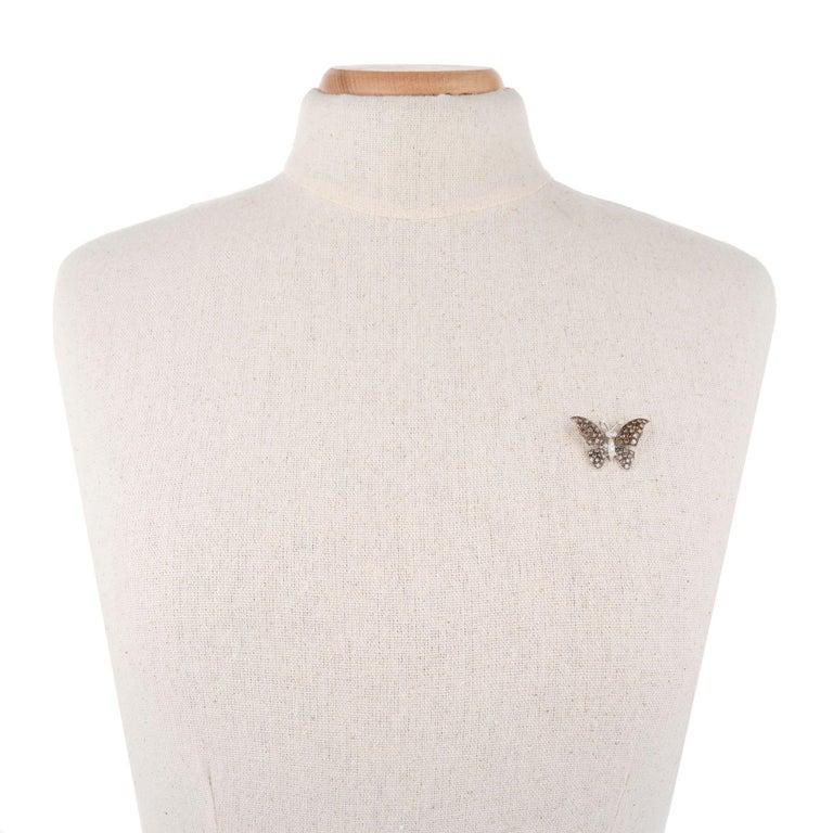 Women's 1.72 Carat Diamond White Gold Butterfly Brooch Pendant For Sale