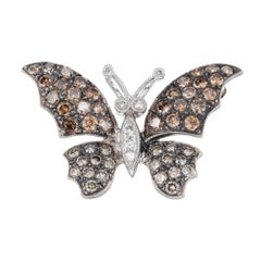 1.72 Carat Diamond White Gold Butterfly Brooch Pendant