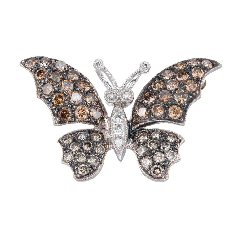 1.72 Carat Diamond White Gold Butterfly Brooch Pendant For Sale