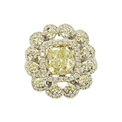 1.72 Carat Flower Shape Fancy Yellow Diamond Ring