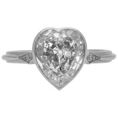 1.72 Carat H VS2 Old Mine Heart-Shaped Cut Diamond Platinum Ring by Hancocks