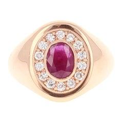1.72 Carat Men's Ruby Diamond 14 Karat Rose Gold Ring
