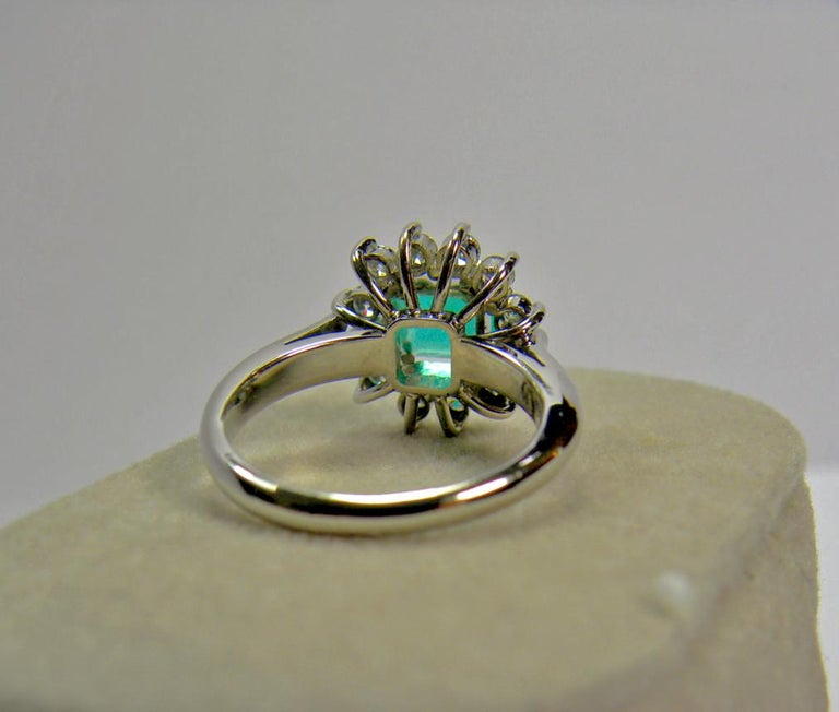 1.72 Carat Natural Fine Colombian Emerald Diamond Engagement Ring 18 Karat In New Condition For Sale In Brunswick, ME