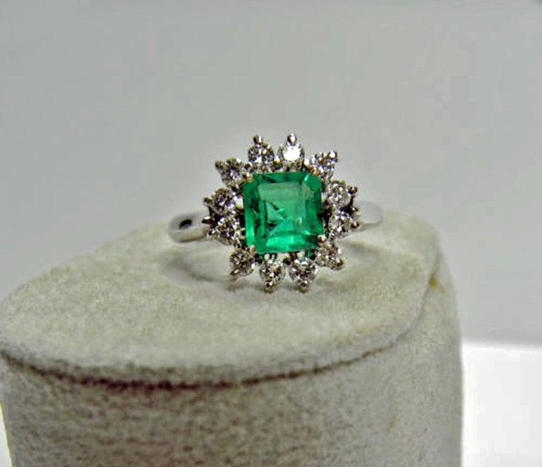1.72 Carat Natural Fine Colombian Emerald Diamond Engagement Ring 18 Karat For Sale 1