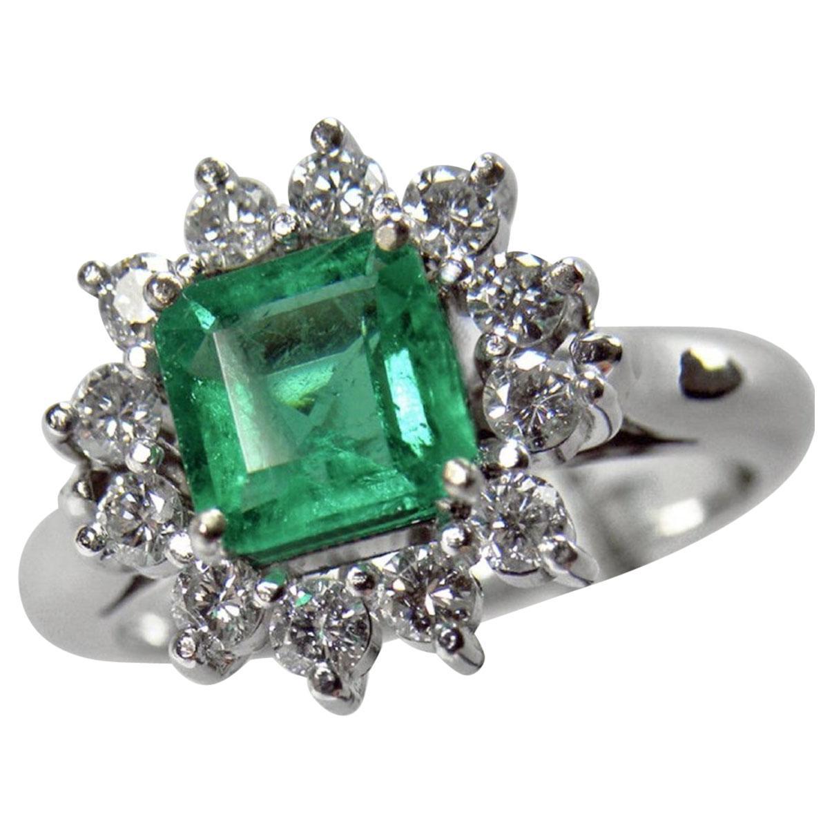 1.72 Carat Natural Fine Colombian Emerald Diamond Engagement Ring 18 Karat