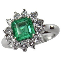 1.72 Carat Natural Fine Colombian Emerald Diamond Engagement Ring 18 Karat