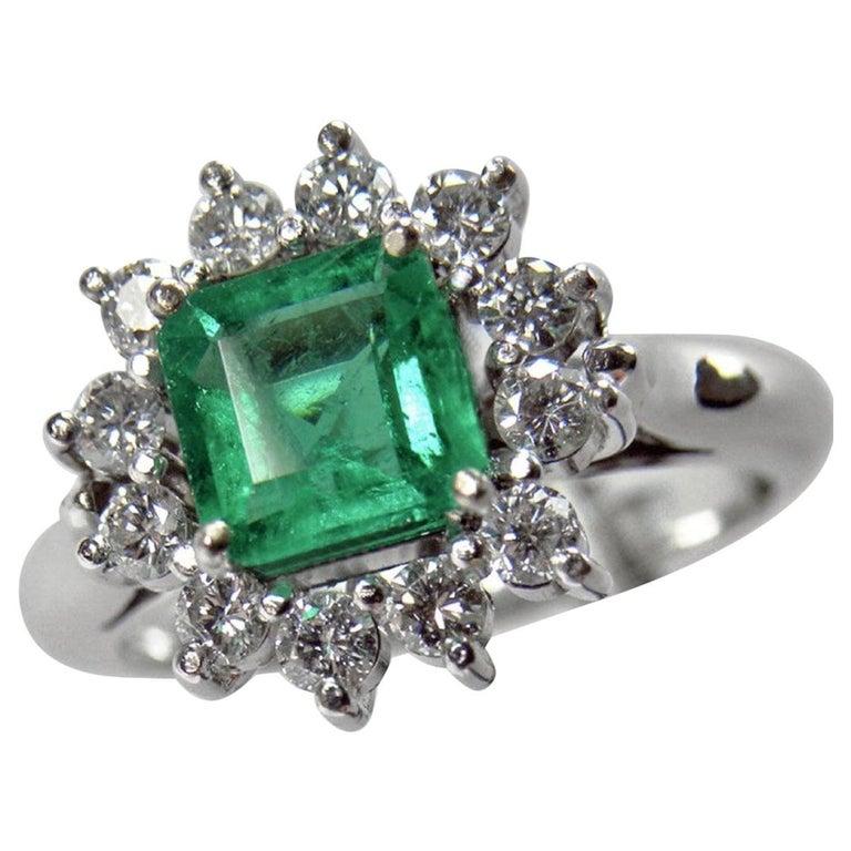1.72 Carat Natural Fine Colombian Emerald Diamond Engagement Ring 18 Karat For Sale