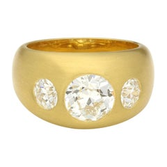 1.72 Carat Old Mine Diamond 22 Carat Gold Satin-Finish Gypsy Ring by Hancocks
