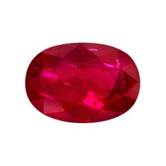 "1.72 Carat Oval Natural Burmese Mogok ""Pigeon's Blood"" GRS Certified Ruby"