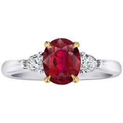 1.72 Carat Oval Red Ruby and Diamond Ring