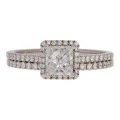 1.72 Carat Princess Cut Diamond Ring and Wedding Band 14 Karat Gold Halo