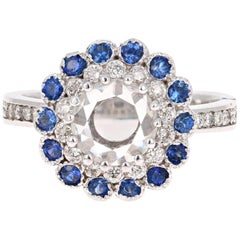 1.72 Carat Rose Cut Diamond and Sapphire Ring 18 Karat White Gold