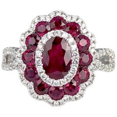 1.72 Carat Ruby and 0.44 Carat Diamond Cocktail Flower Ring in 18 Karat Gold