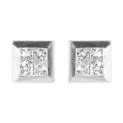 1.72 Carat Total Invisible Set Princess Cut Stud Earrings in 18 Karat White Gold