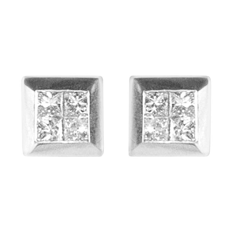 06409eb28 1.72 Carat Total Invisible Set Princess Cut Stud Earrings in 18 Karat White  Gold For Sale. Every distinguished woman needs an illuminating pair of  diamond ...