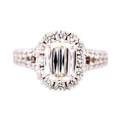 1.72 Carat Total Weight New Version of Emerald Cut Diamond Engagement Ring