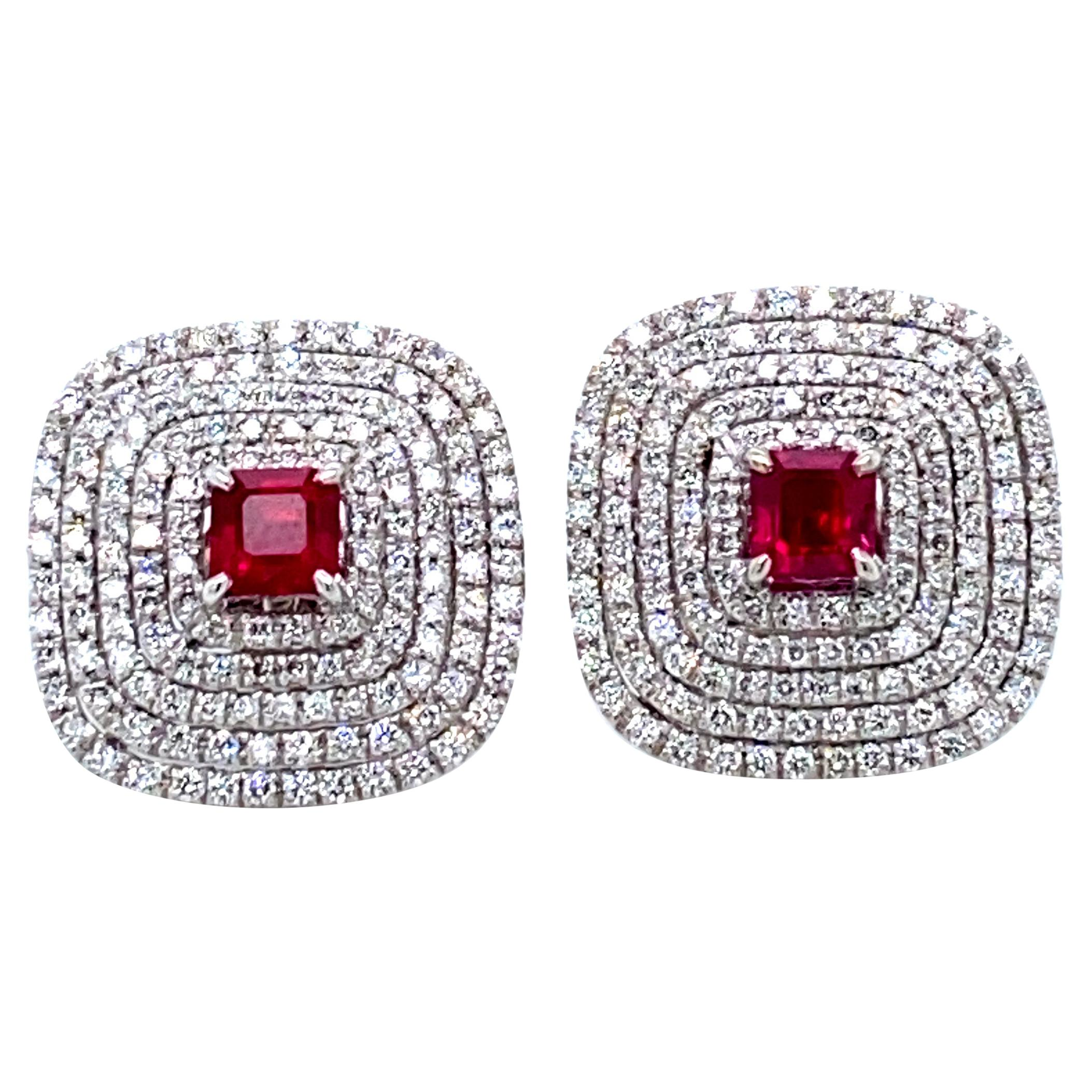 1.72 Carat Vivid Red Ruby and White Diamond Gold Earrings