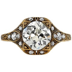 1.72 Old European Cut Diamond Ring Set in 18 Karat Oxidized Yellow Gold