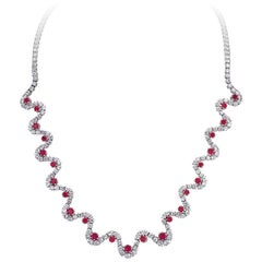 17.20 Carat Diamond and 4.25 Carat Ruby Wave Motif Platinum Necklace
