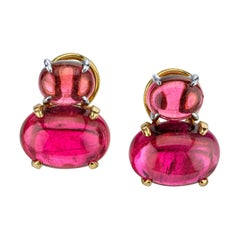 17.21 Carat Rubellite Tourmaline Cabochon Yellow White Gold French Clip Earrings