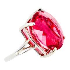 17.22 Carat Pink Tourmaline Sterling Silver Ring