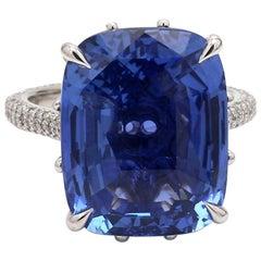 17.25 Carat Cushion Cut Sapphire Ring