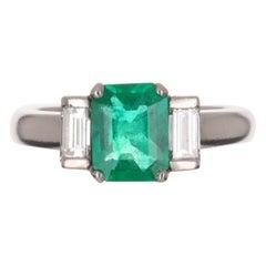 1.72tcw Plat Three Stone Colombian Emerald Cut & Baguette Diamond Ring