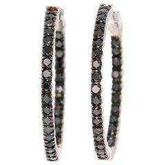 1.73 Carat Black Diamond 14 Karat White Gold Hoop Earrings
